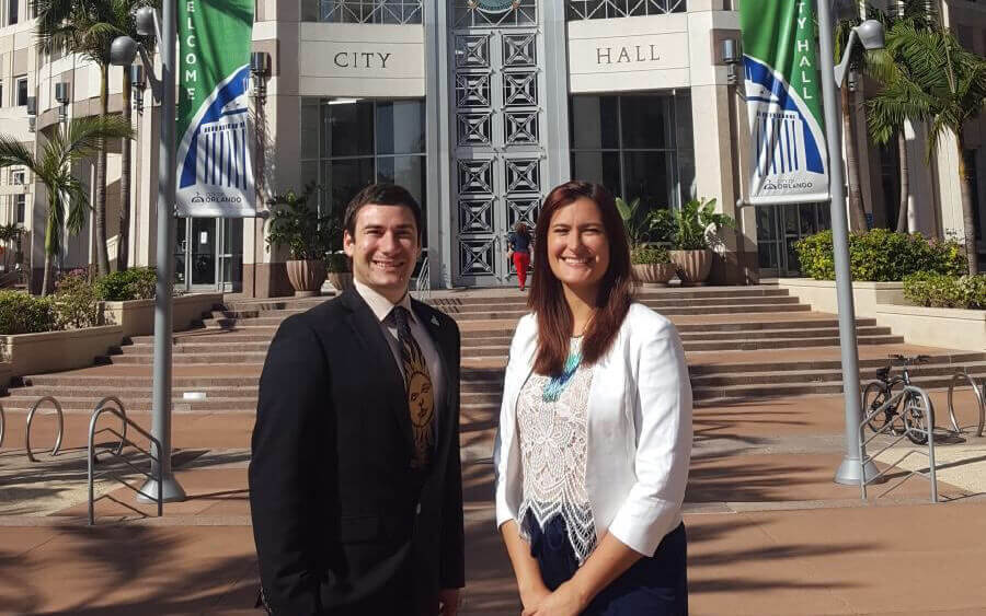 Chris Castro and Brittany Sellers at Orlando City Hall.