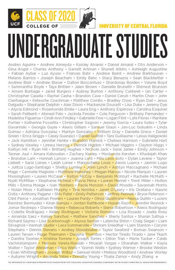UCF Class of Summer 2020 Poster